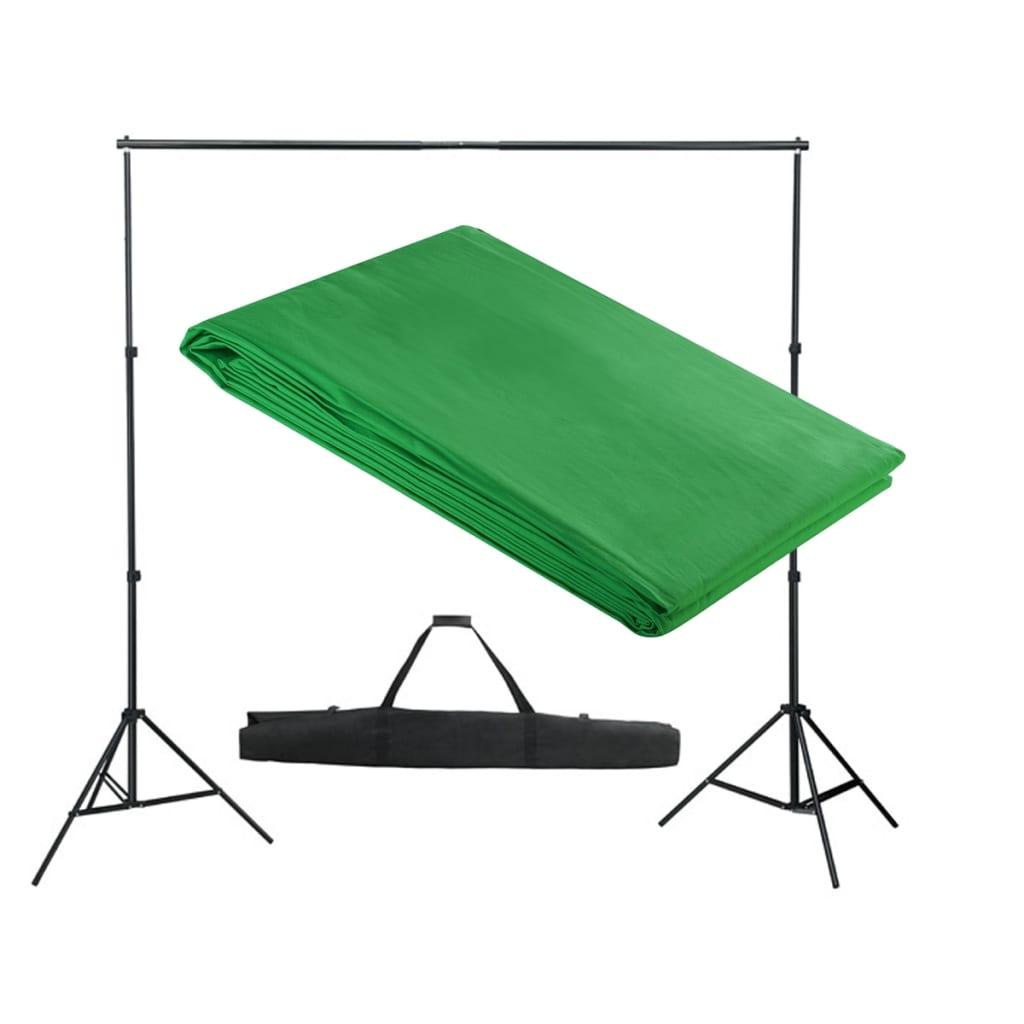 vidaXL Système de support de toile de fond 300 x 300 cm Vert