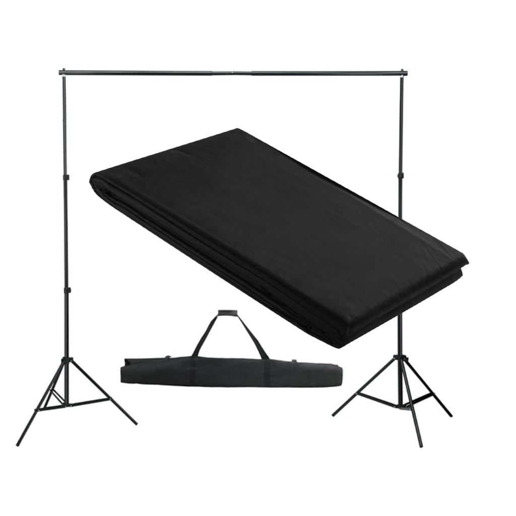 vidaXL Système de support de toile de fond 300 x 300 cm Noir