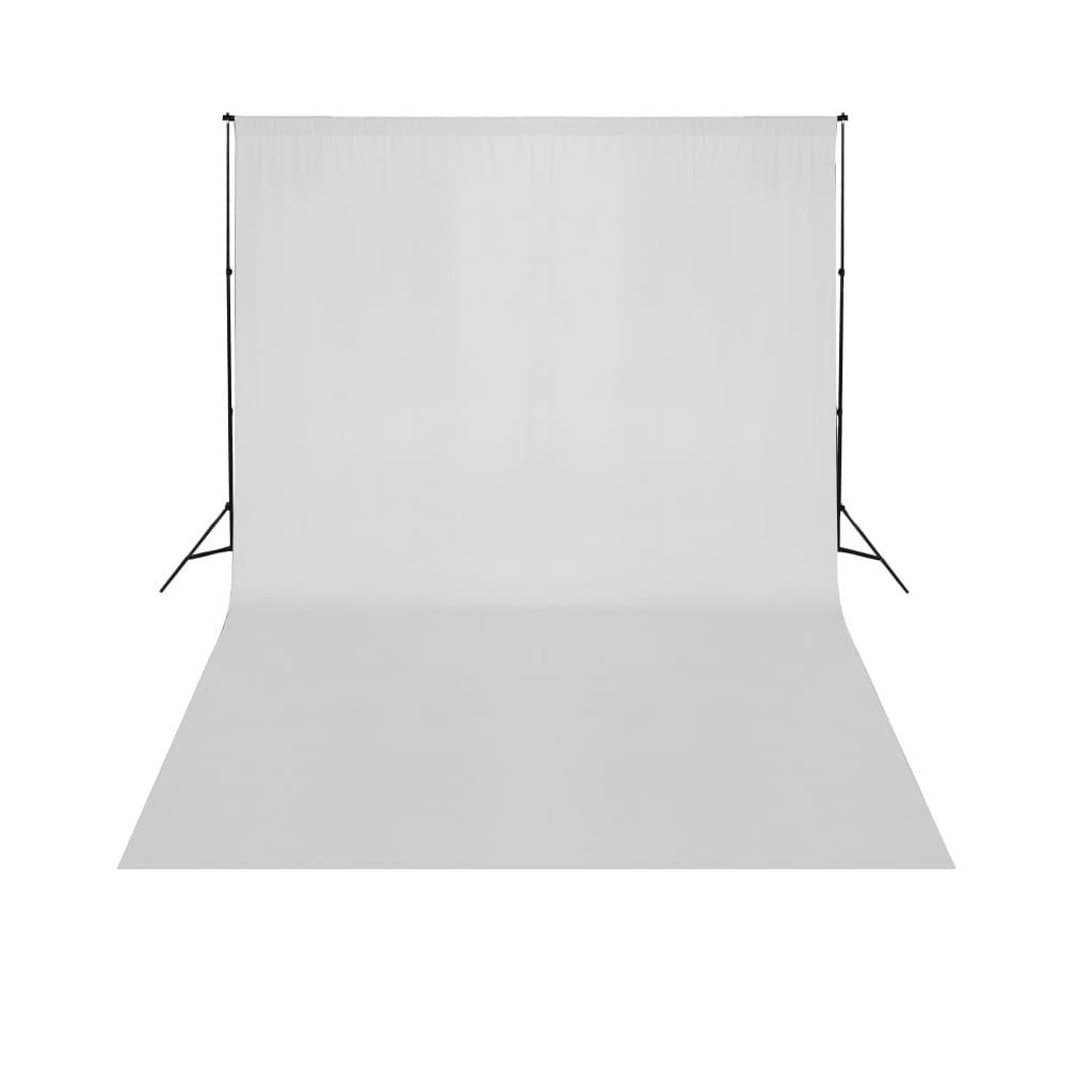 vidaXL Support de fond télescopique et toile de fond blanc 3x5 m