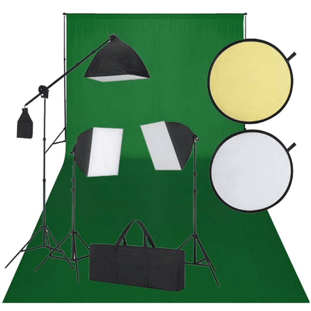 vidaXL Kit Photo 3 Softbox Fond vert et Réflecteur