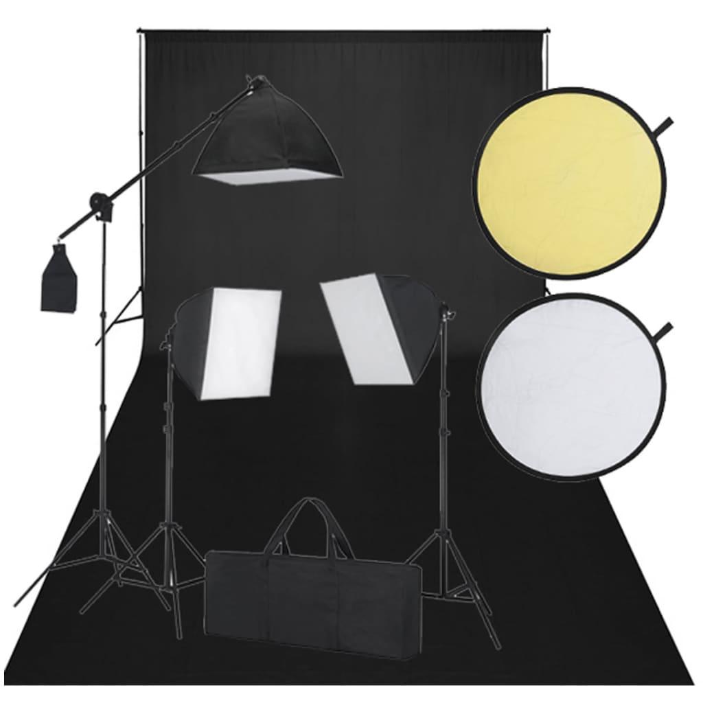 vidaXL Kit studio fond noir & éclairage