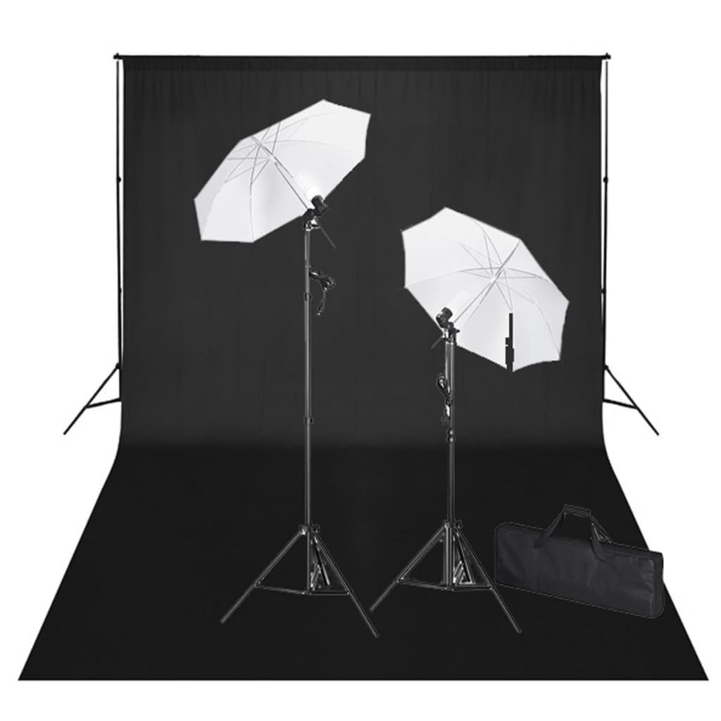 vidaXL Kit de studio et toile de fond noire 600 x 300 cm et lumières