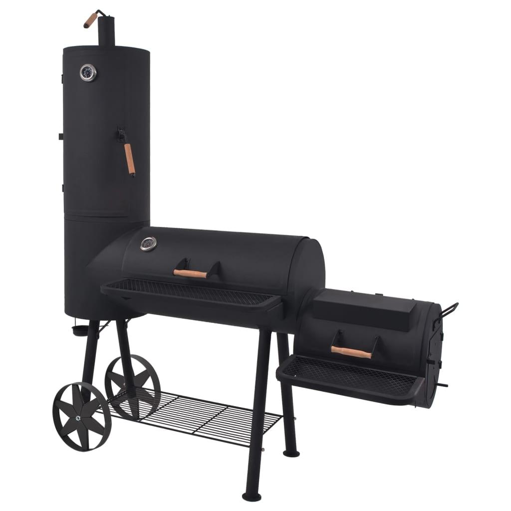 vidaXL Barbecue au charbon de bois avec étagère inférieure Noir XXL