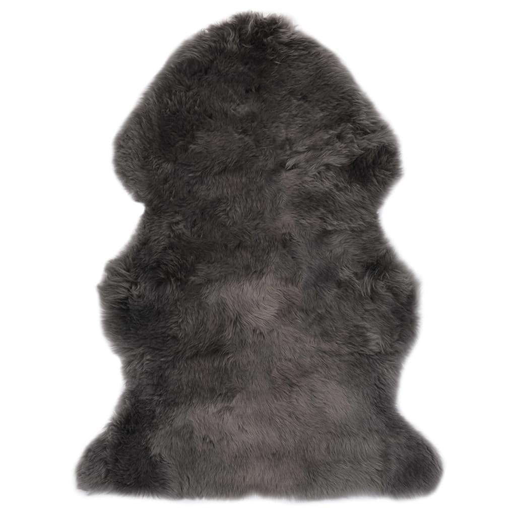 vidaXL Tapis en peau de mouton 60 x 90 cm Gris clair