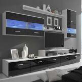 vidaXL Meuble TV avec LED 250 cm Noir haute brillance 7 pcs