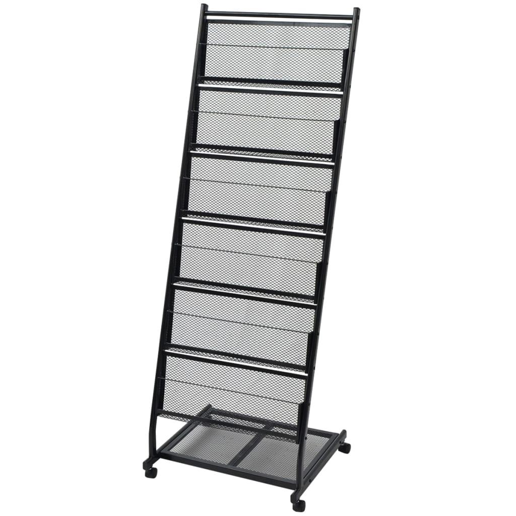 vidaXL Porte-revues 47,5 x 43 x 133 cm Noir A4