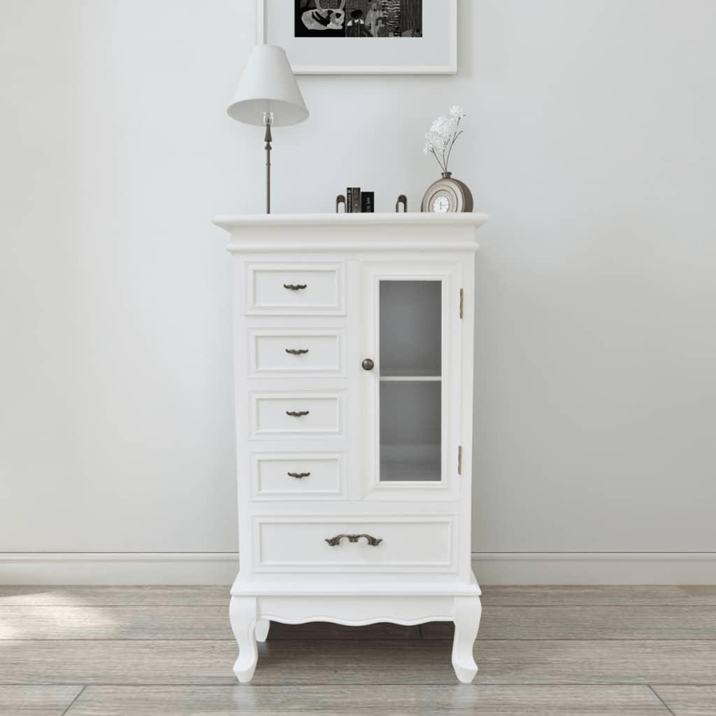 vidaXL Armoire avec 5 tiroirs et 2 étagères Blanc