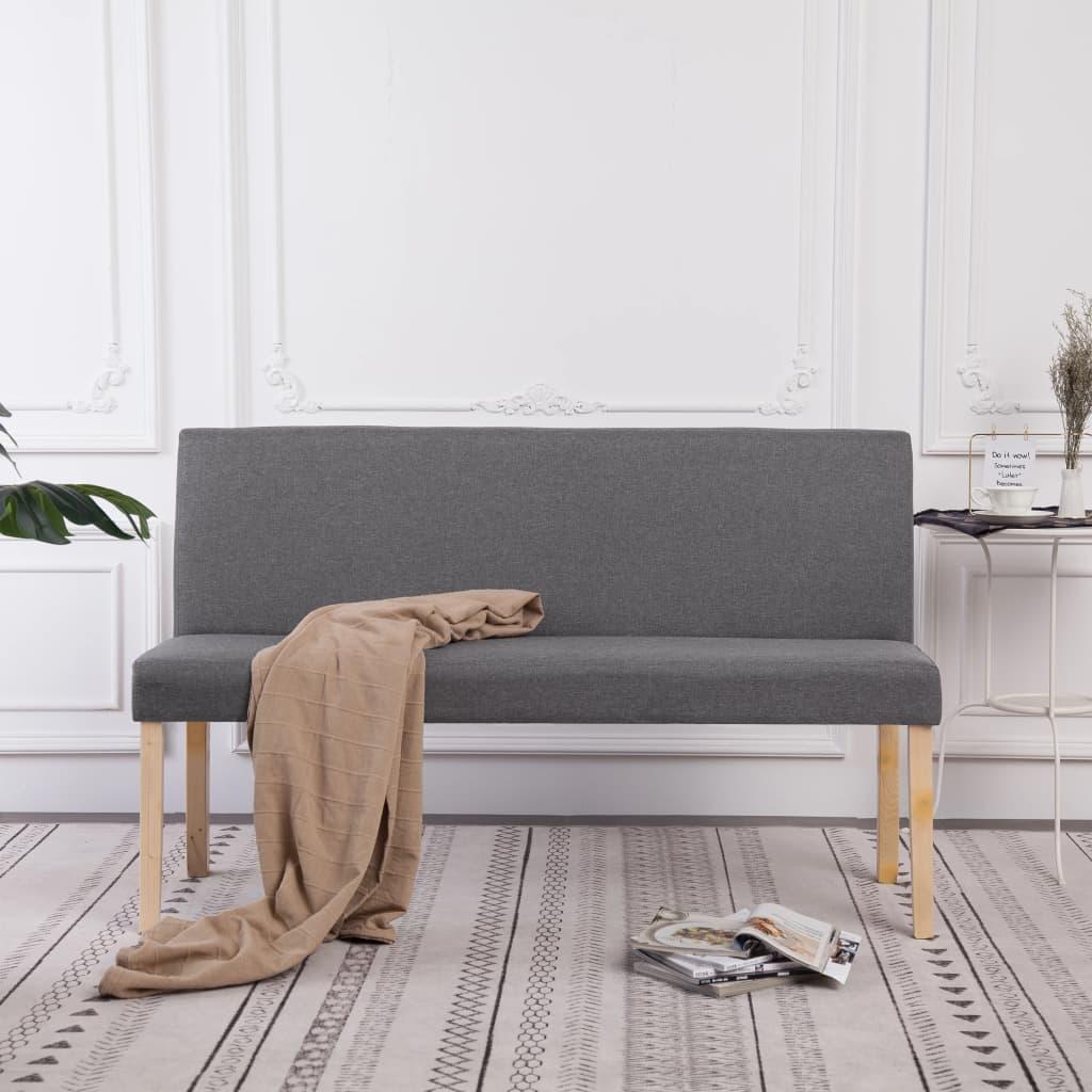 vidaXL Banc 139,5 cm Gris clair Polyester