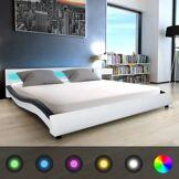 vidaXL Lit avec LED et Matelas à mémoire de forme Cuir artificiel Blanc/Noir