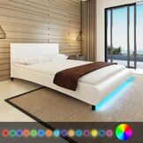 vidaXL Lit en cuir artificiel blanc avec bande LED 140 x 200 cm
