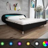 vidaXL Lit avec LED 180 x 200 cm Cuir artificiel Noir