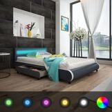 vidaXL Lit 140 cm avec tête de lit à LED+matelas en mousse à mémoire de forme