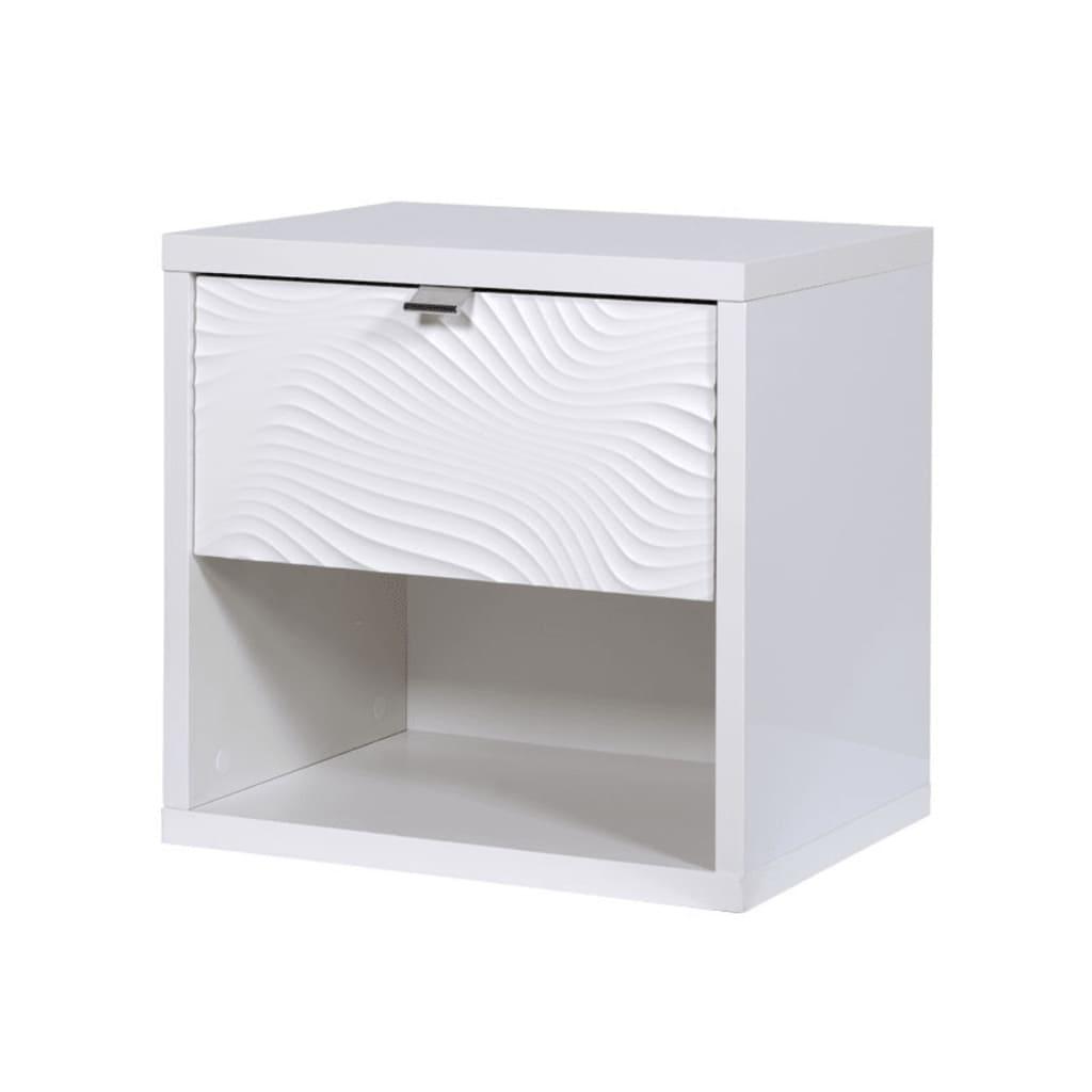 TousMesMeubles Chambre Adulte Complète (140*190) Laqué Blanc - SENYA