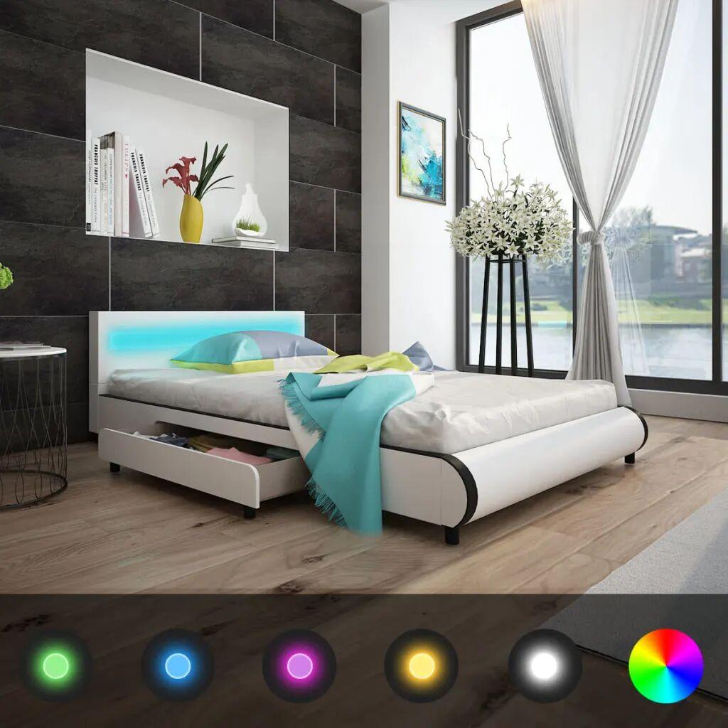 vidaXL Cadre de lit avec tiroirs LED Blanc Similicuir 140 x 200 cm
