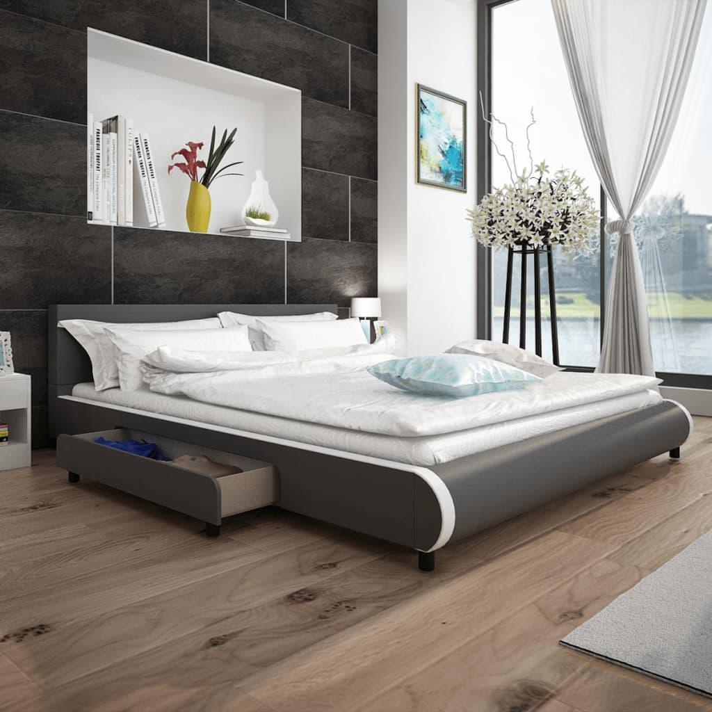 vidaXL Cadre de lit avec tiroirs Gris Similicuir 180 x 200 cm