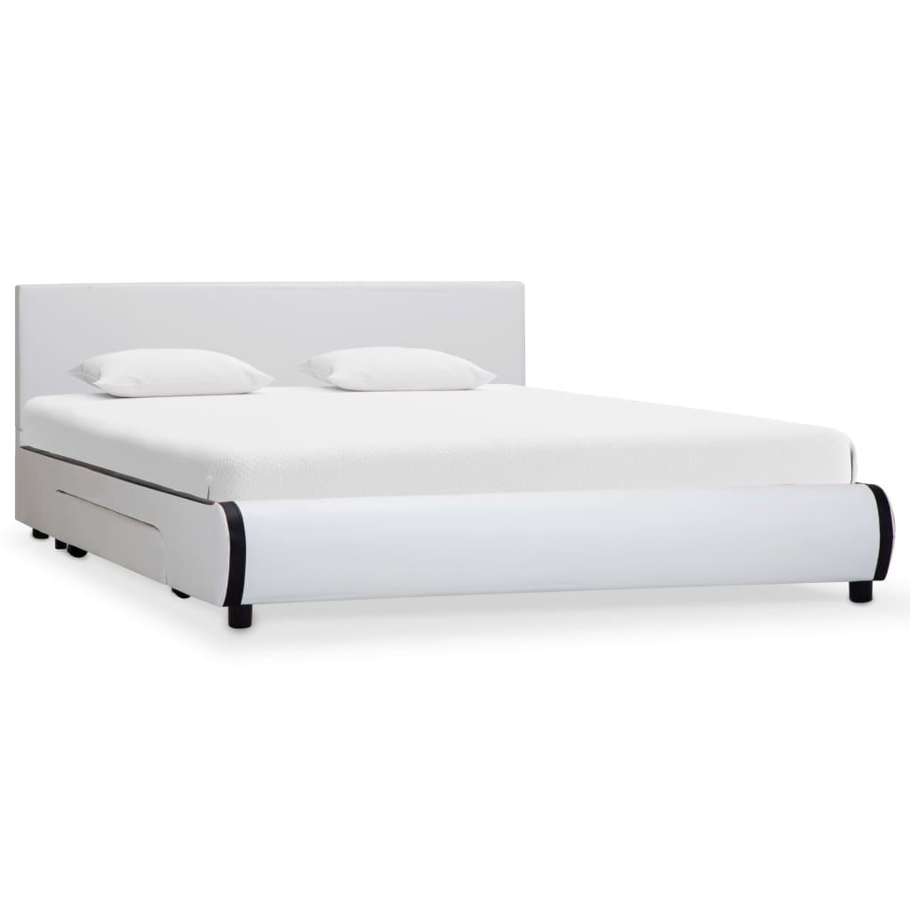 vidaXL Cadre de lit avec tiroirs Blanc Similicuir 120 x 200 cm