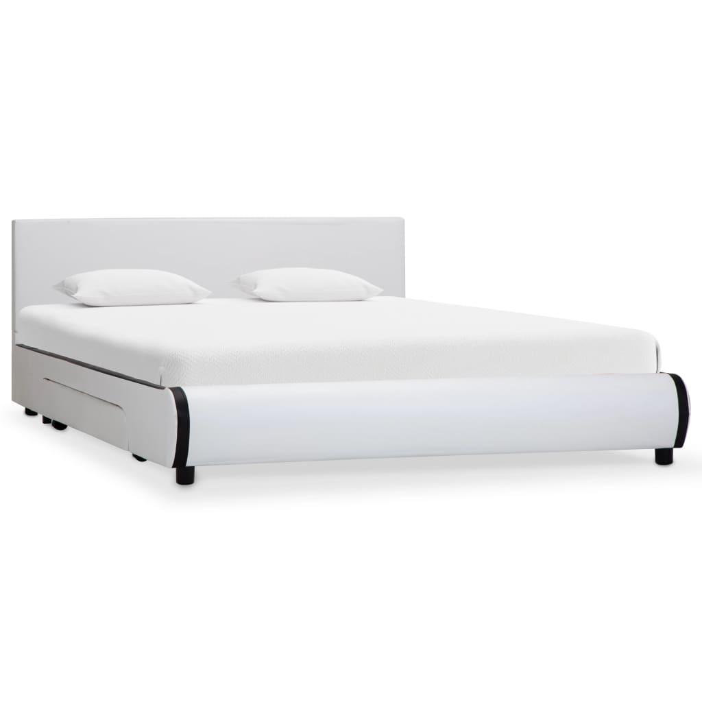 vidaXL Cadre de lit avec tiroirs Blanc Similicuir 140 x 200 cm