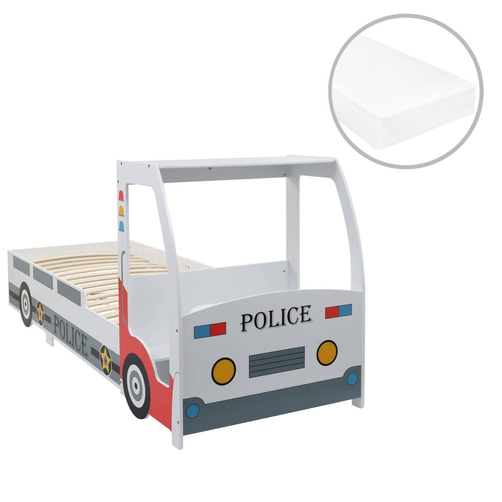 vidaXL Lit voiture de police et matelas en mousse pour enfant 90x200cm