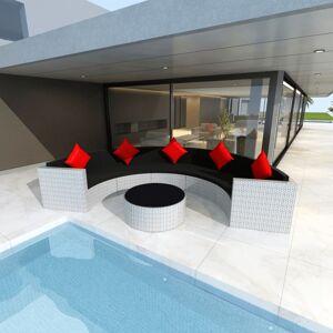 vidaXL Salon de jardin 6 pcs avec coussins Résine tressée Blanc
