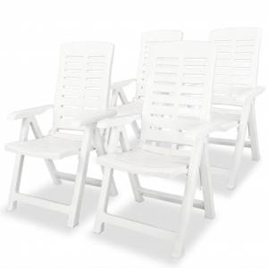 vidaXL Chaises inclinables de jardin 4 pcs Plastique Blanc
