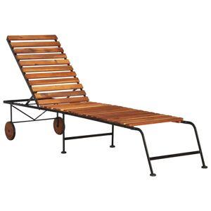 vidaXL Chaise longue avec pieds en acier Bois d'acacia massif
