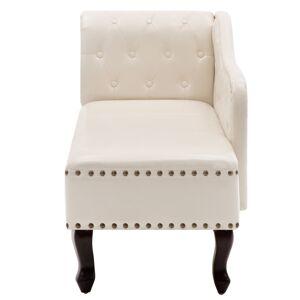 vidaXL Chaise longue Blanc crème Similicuir