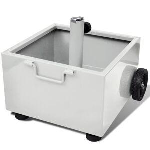 vidaXL Pot de plantes et support de parasol d'extérieur 2-en-1 Blanc