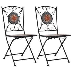 vidaXL Chaises de bistrot mosaïque 2 pcs Orange et gris