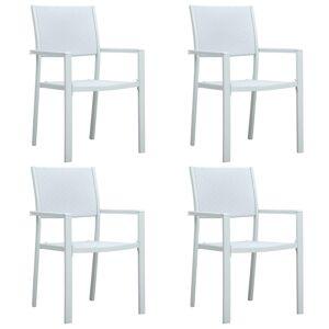 vidaXL Chaises de jardin 4 pcs Blanc Plastique Aspect de rotin