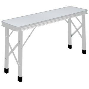 vidaXL Table de camping pliable avec 2 bancs Aluminium Blanc