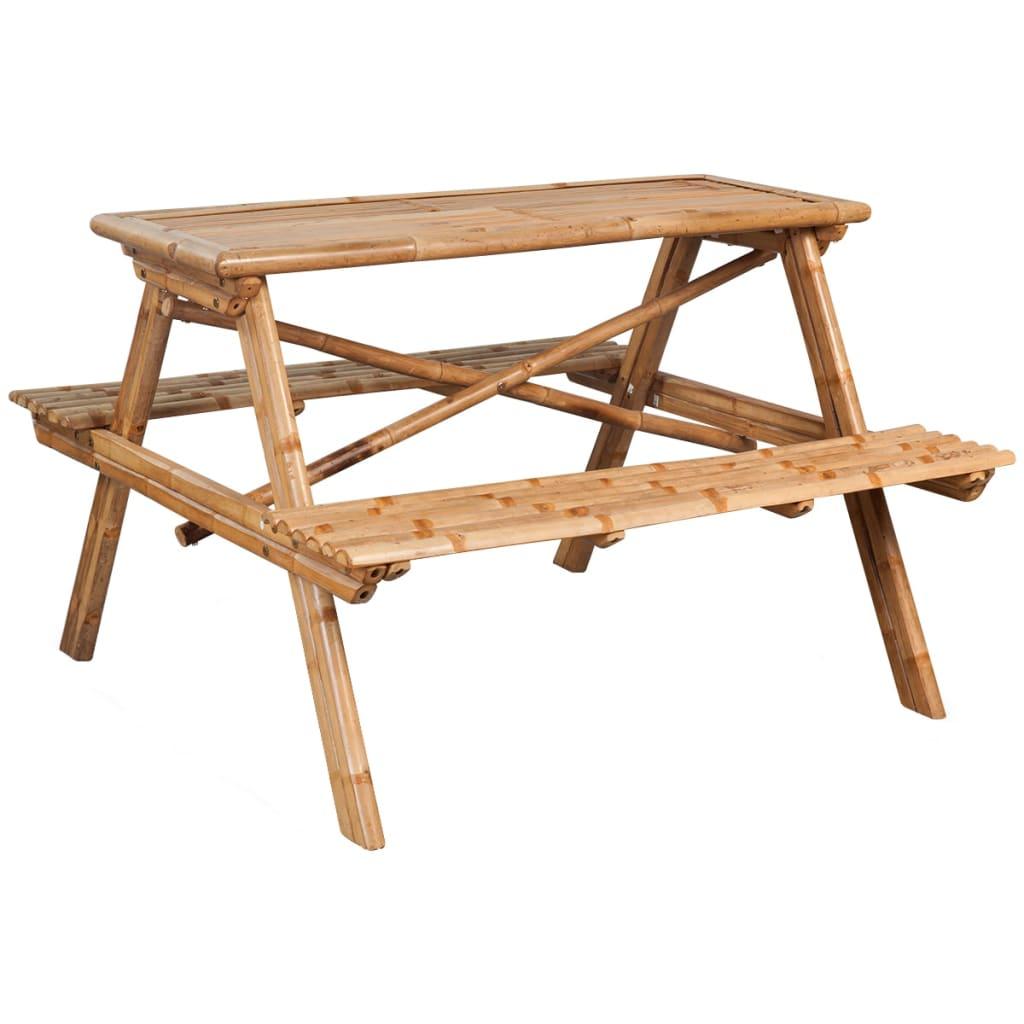 vidaXL Table de pique-nique 120 x 120 x 78 cm Bambou