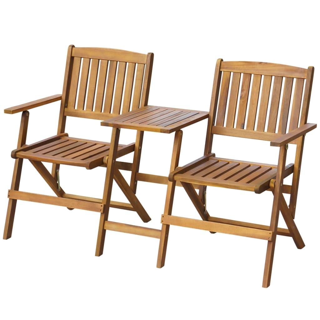 vidaXL Banc de jardin pliant et table à thé 140cm Bois d'acacia solide