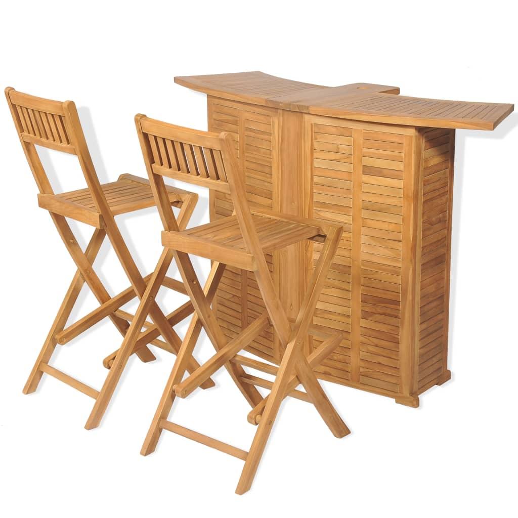 vidaXL Mobilier de bistro 3pcs et chaises pliables Bois de teck solide