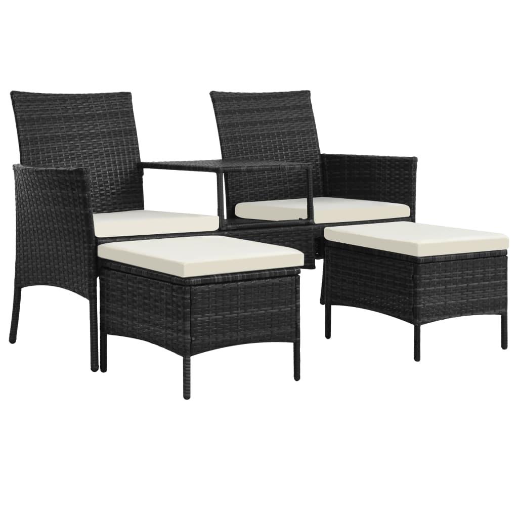 vidaXL Canapé de jardin table à thé et tabourets Résine tressée Noir
