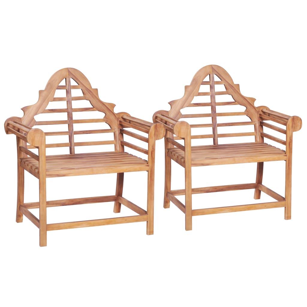 vidaXL Chaise de jardin 2 pcs 91x62x102 cm Teck solide