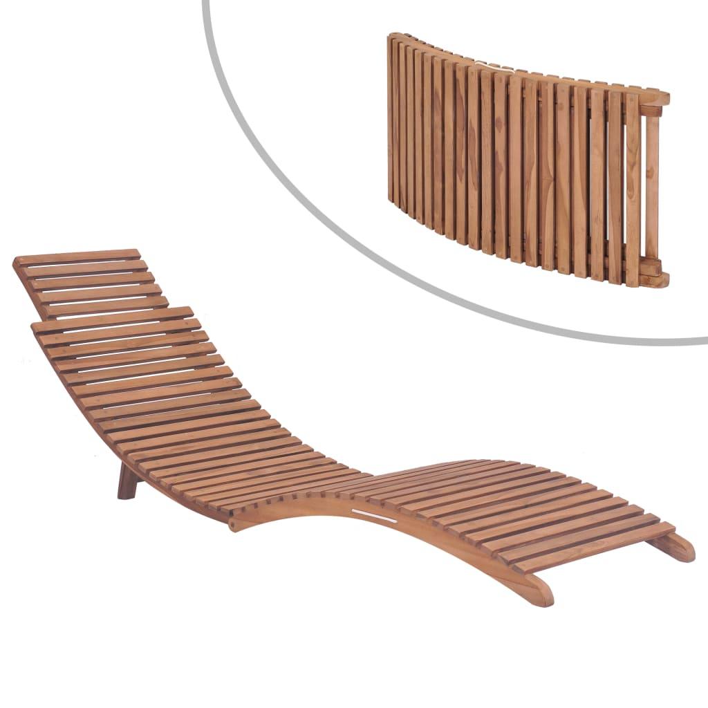 vidaXL Chaise longue pliable Bois de teck solide