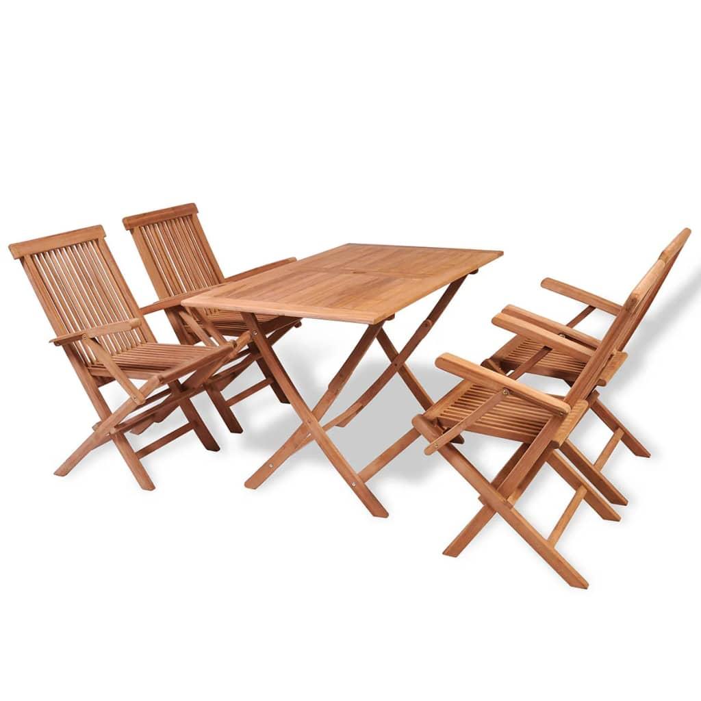 vidaXL Mobilier à dîner de jardin 5 pcs Bois de teck massif