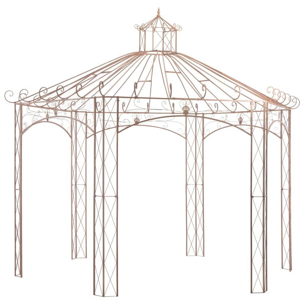 vidaXL Pavillon de jardin Marron antique 4 m Fer