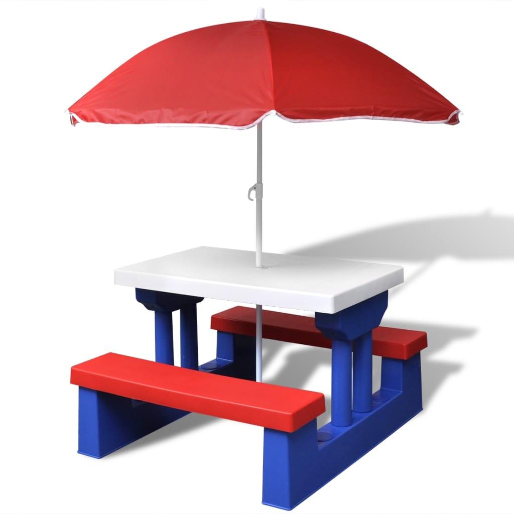 vidaXL Table et bancs de pique-nique avec parasol pour enfants