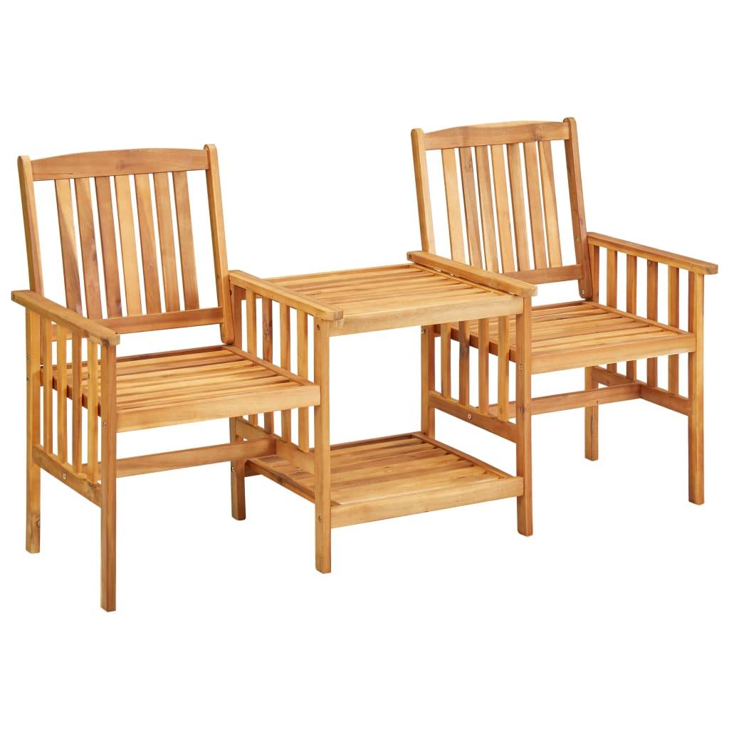 vidaXL Chaises de jardin avec table à thé 159x61x92 cm Bois d'acacia