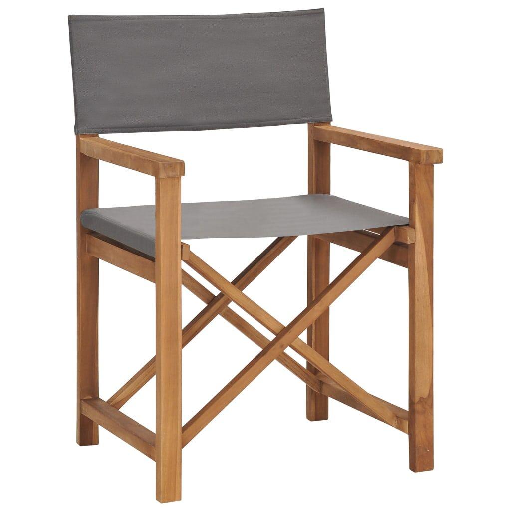 vidaXL Chaise de metteur en scène Bois de teck solide Gris