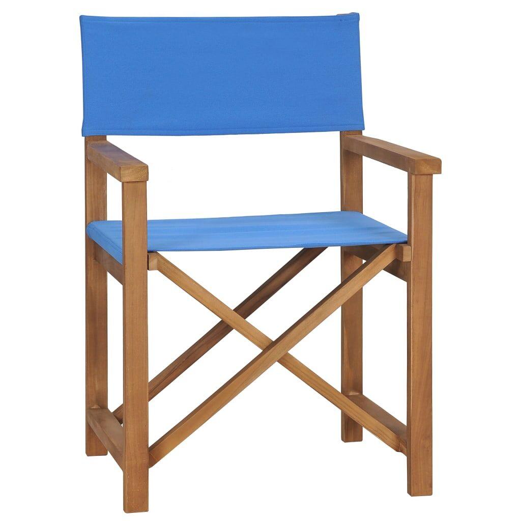 vidaXL Chaise de metteur en scène Bois de teck solide Bleu
