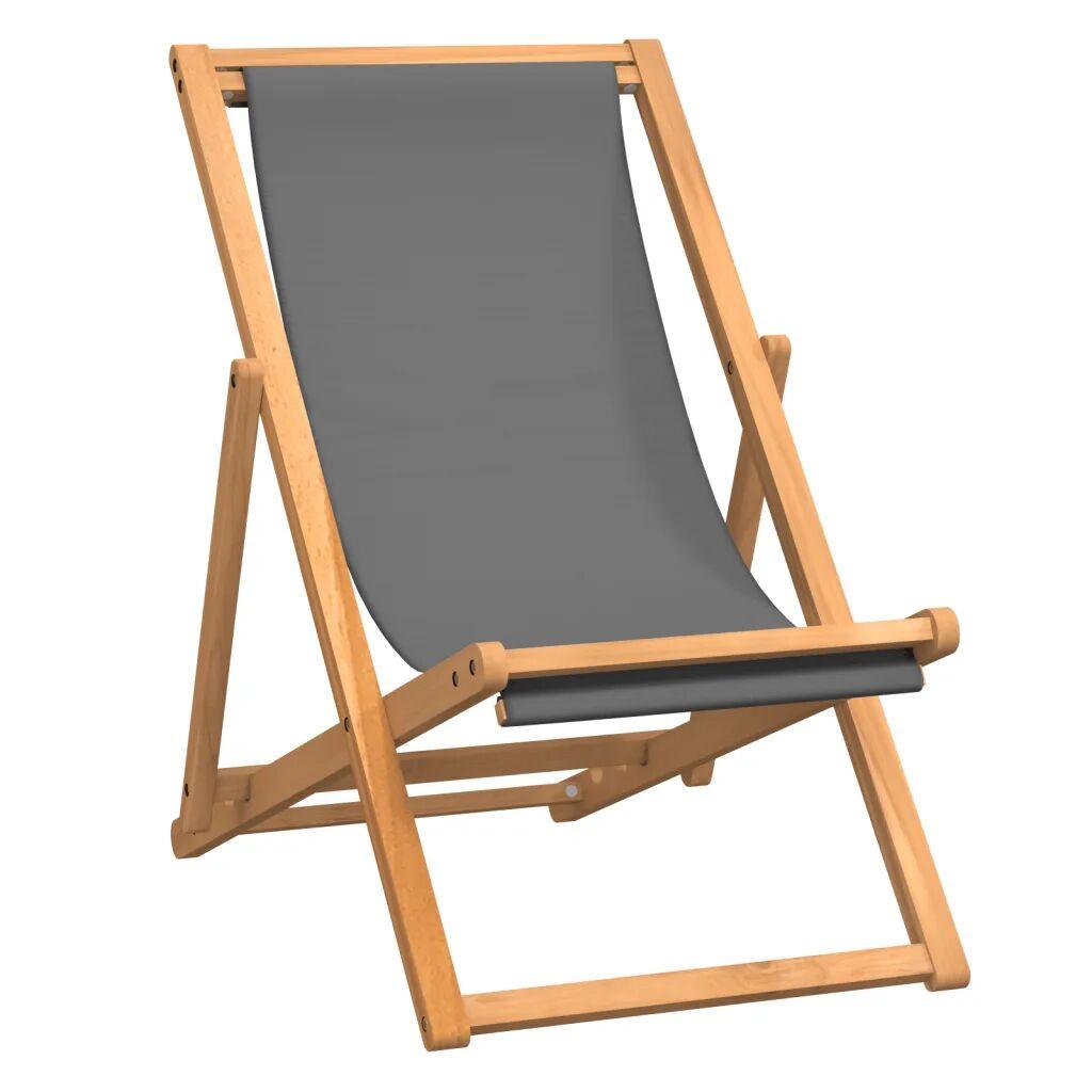 vidaXL Chaise de plage pliable Bois de teck solide Gris