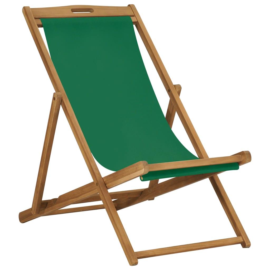 vidaXL Chaise de plage pliable Bois de teck solide Vert
