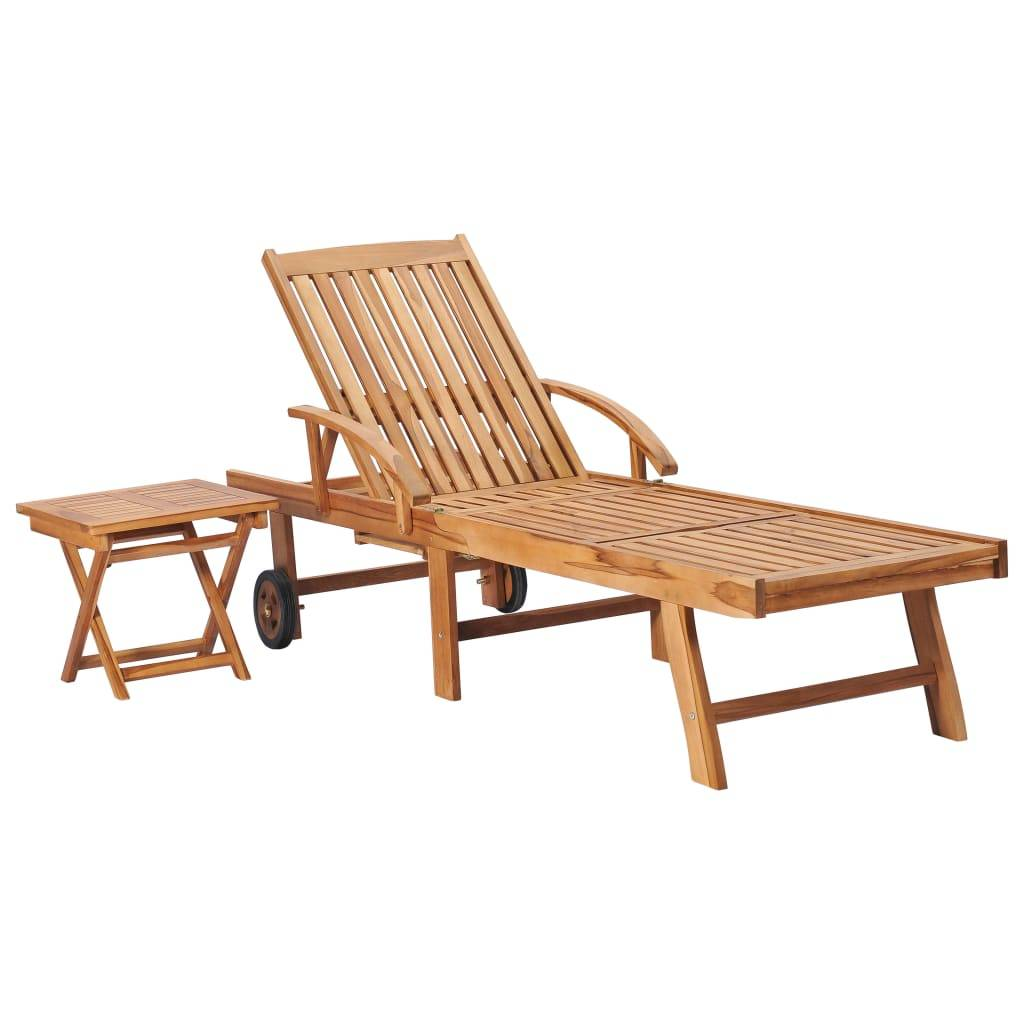 vidaXL Chaise longue avec table Bois de teck solide