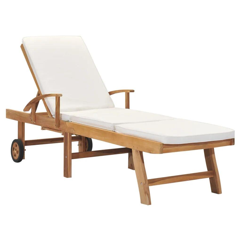vidaXL Chaise longue avec coussin Bois de teck solide Crème