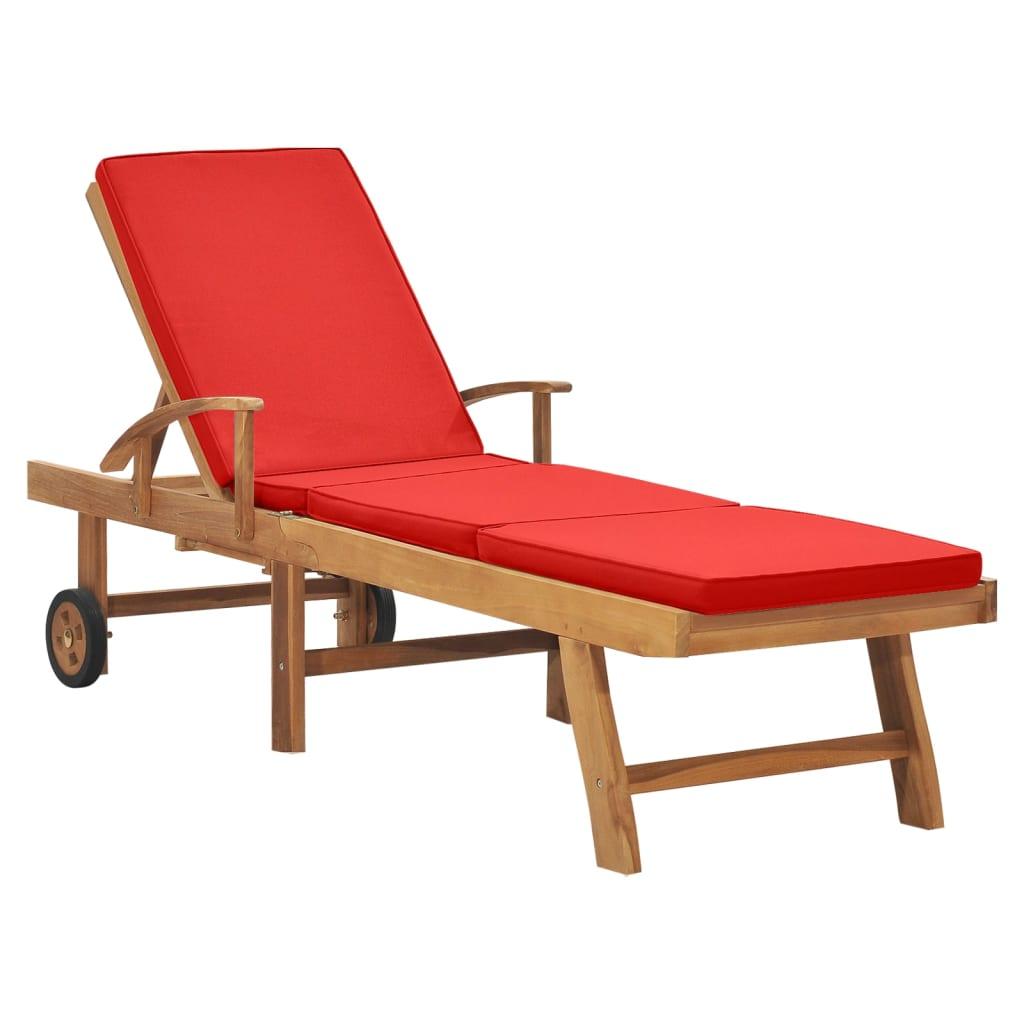 vidaXL Chaise longue avec coussin Bois de teck solide Rouge