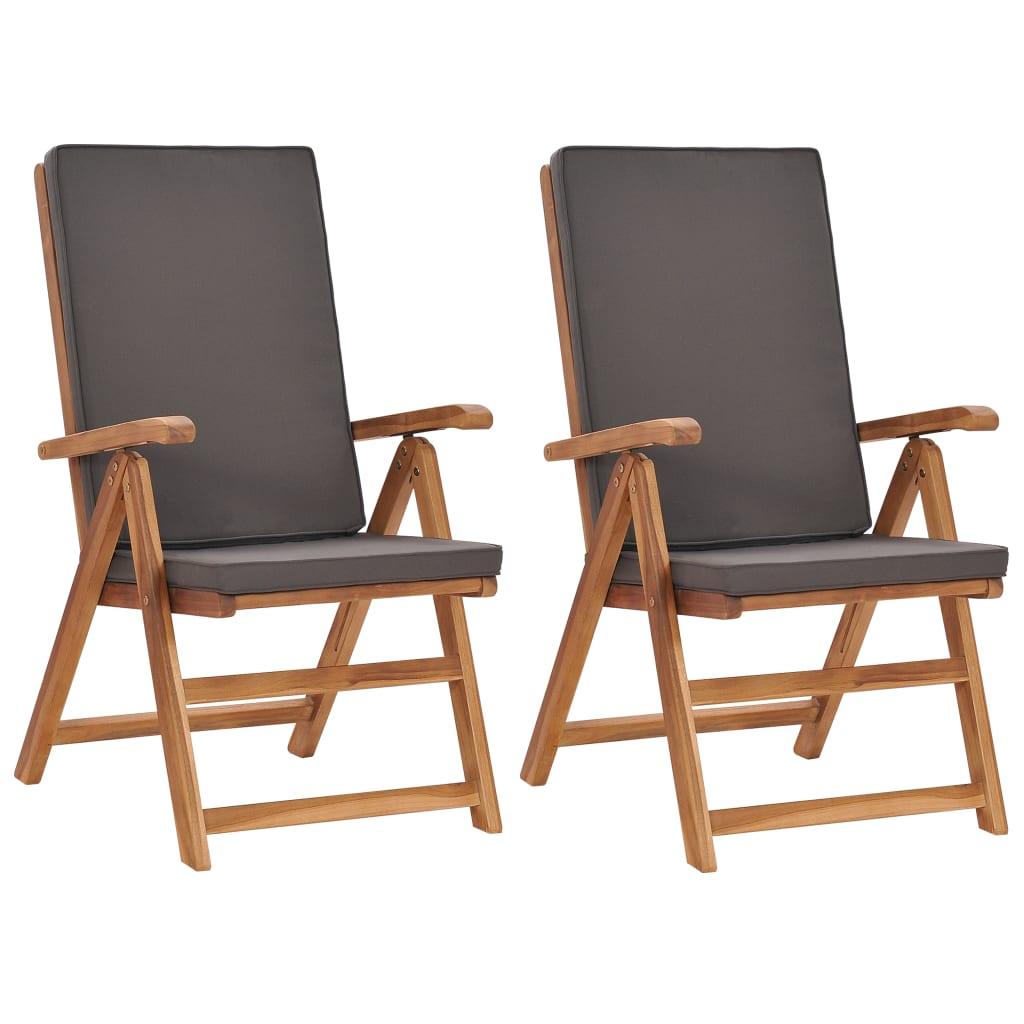 vidaXL Chaises inclinables 2 pcs avec coussins Teck solide Gris