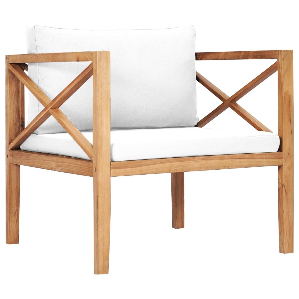 vidaXL Chaise de jardin avec coussins crème Bois de teck solide