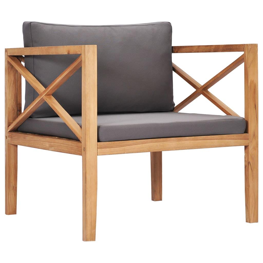 vidaXL Chaise de jardin avec coussins gris Bois de teck solide